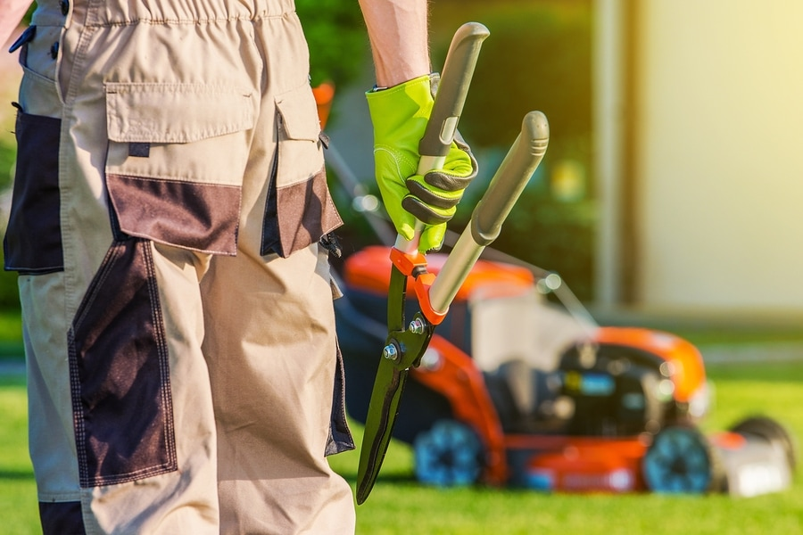 Picture of lawn service worker with tool in hand