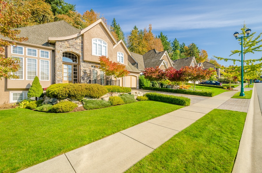 Front yard of house with healthy grass, bushes, plants, and trees with autumn colored leaves
